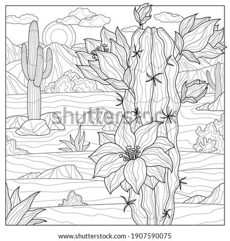 Blooming cactus in the desert.Coloring book antistress for children and adults.Zen-tangle style. Black and white drawing.Hand drawn