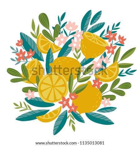 Blooming lemon tree in hand drawn style. Vector design element isolated on the white background. Tropical summer fruit decor. #1135013081