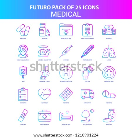 25 Blue and Pink Futuro Medical Icon Pack
