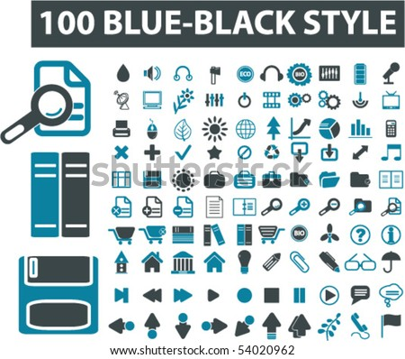 100 blue-black style signs. vector