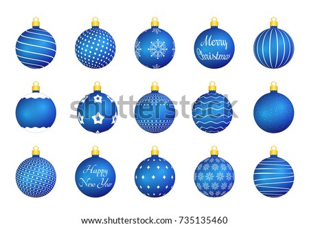 15 Blue Christmas balls with different textures, vector eps10 illustration