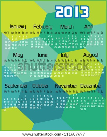 2013 Blue Green Colored Calendar