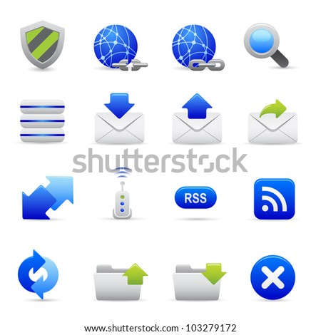 Blue Internet Icons Professional vector set for your website, application, or presentation. The graphics can easily be edited colored individually and be scaled to any size