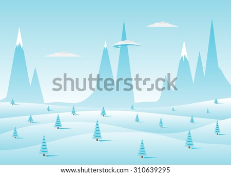 Blue landscape, rocks and clouds, snowdrifts and fir-trees