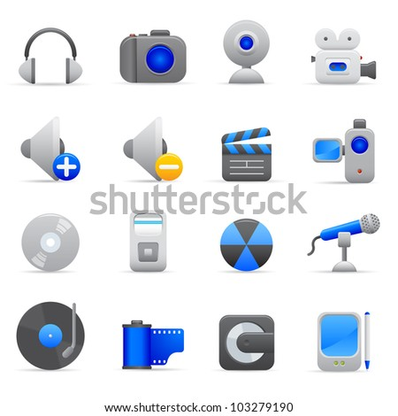 Blue Multimedia Icons Professional vector set of multimedia for your website, application, or presentation. The graphics can easily be edited colored individually and be scaled to any size