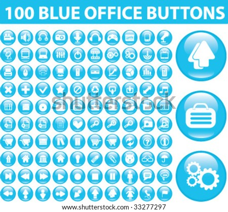 100 blue office glossy buttons.vector
