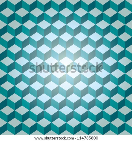 Blue seamless cube pattern, vector - stock vector
