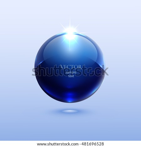 blue shiny ball with glare