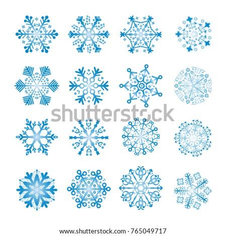 16 blue snowflakes