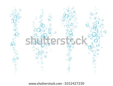 Blue underwater fizzing air bubbles  flow on white  background. Fizzy sparkles in water, sea, aquarium, ocean. Soda pop.  Undersea vector texture.