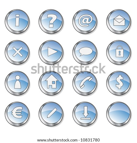16 blue web buttons part 1:exclamation, question, at, mail, delete, arrow, cloud, lock, man, home, telephone, dollar, euro, pen, download and empty. See my portfolio for more.