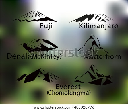 blurred set of five mountains