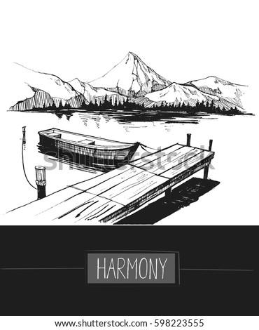 boat  a lake  pier  mountains