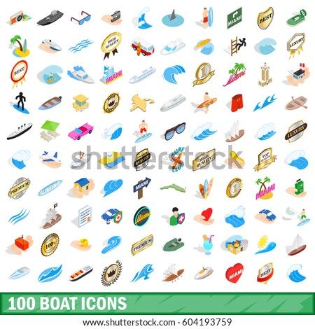 100 boat icons set in isometric