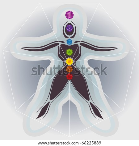 7 Body Chakras with Mandalas, Heptagon and Auric Fields