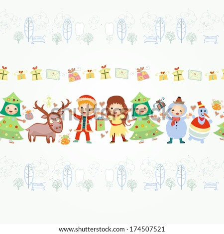 4 border for your design. Illustration of boarder with children and gifts. Background with happy kids playing and winter street with trees and benches. hand drawing. Isolated on white background
