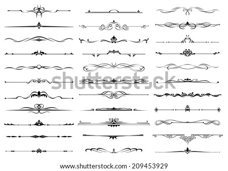 Borders and dividers decorative vignette elements set isolated on white for design