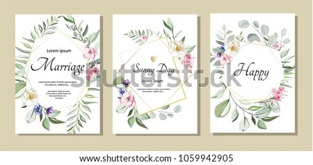 botanic card with wild flowers, leaves. Spring ornament concept. Floral poster, invite. Vector decorative greeting card or invitation design background. Hand drawn illustration #1059942905