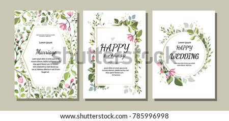 botanic card with wild flowers