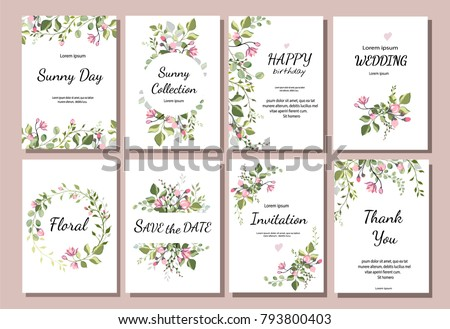 botanic card with wild flowers, leaves. Spring ornament concept. Floral poster, invite. Vector layout decorative greeting card or invitation design background. Hand drawn illustration #793800403