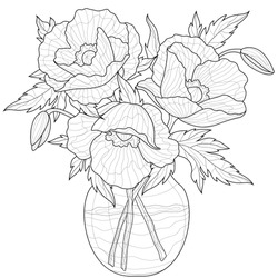 Bouquet of poppies in a vase.Coloring book antistress for children and adults. Illustration isolated on white background.Zen-tangle style. Black and white drawing