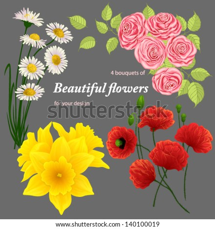 4 bouquets of beautiful flowers