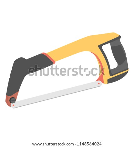Box like tool with hand gripper and sharp blade, graphic for hacksaw