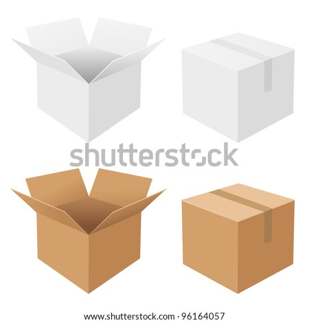 4 Boxes, Isolated On White Background