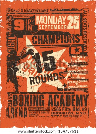 Boxing match vintage poster - Grunge vector artwork for boy sport wear in custom colors