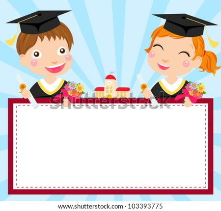 boy and girl graduate and frame - stock vector