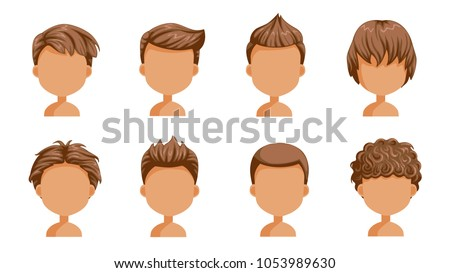 Boy hair set. face of a little boy. cute  hairstyle.Variety  child  modern fashion for assortment. long , short , curly hair. salon hairstyles and trendy haircut of male. vector icon set isolated.