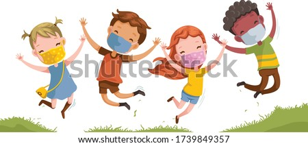 Boys and girls are playing together happily. Kids Play at the grass. Children Holding hands and jumping ,Running a meadow. kids wear face mask protect virus. Protect dust PM 2.5. Social distancing.