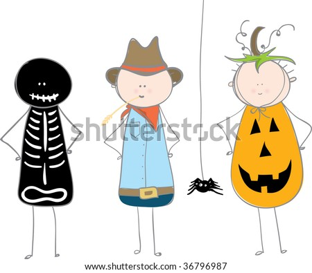 3 boys in halloween costumes