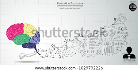 Brain Colorful - Background Plan Business - modern Idea and Concept Vector illustration Business  with  icon.