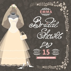 Bridal shower card.The composition of wedding dress,Bridal veil,handbags and high heel shoes Vintage floral pattern.Cute wedding invitation.Fashion vector Illustration