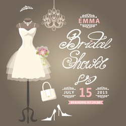 Bridal shower card.The composition of wedding dresses ,Bridal veil, bouquet,handbags and high heel shoes.Cute wedding invitation.Fashion vector Illustration