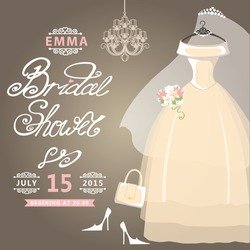 Bridal shower card.The composition of wedding dresses ,Bridal veil, bouquet,handbags and high heel shoes.Vintage wedding invitation.Fashion vector Illustration