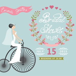 Bridal shower card with  bride on retro bicycle and floral wreath.Vintage wedding invitation.Fashion vector Illustration