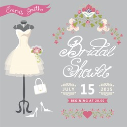 Bridal shower card with floral border.The composition of wedding dresses ,bridal bouquet,handbags and high heel shoes.Cute wedding invitation.Fashion vector Illustration