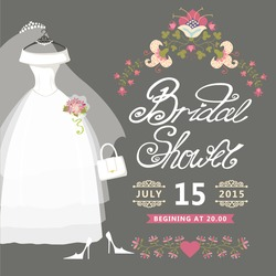 Bridal shower card with floral border.The composition of wedding dresses ,Bridal veil, bouquet,handbags and high heel shoes.Vintage wedding invitation.Fashion vector Illustration
