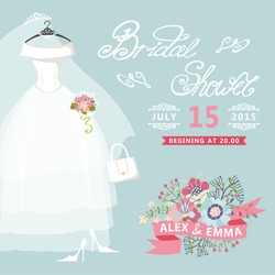 Bridal shower card with floral elements,bridal dress.The composition of wedding dress ,Bridal veil, bouquet,handbags and high heel shoes.Vintage wedding invitation.Fashion vector Illustration