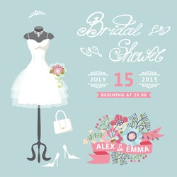 Bridal shower card with floral elements.The composition of wedding dresses ,Bridal veil, bouquet,handbags and high heel shoes.Cute wedding invitation.Fashion vector Illustration