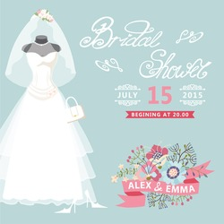 Bridal shower card with floral elements.The composition of wedding dresses ,Bridal veil, bouquet,handbags and high heel shoes.Vintage wedding invitation.Fashion vector Illustration