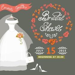 Bridal shower card with  wedding dress  and autumn wreath.Vintage wedding invitation.Fashion vector Illustration