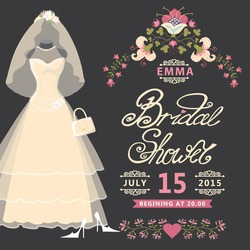 Bridal shower invitation  card with Vintage wedding dress and flowers.The composition of wedding dresses,Bridal veil,handbag and high heel shoes.Vintage wedding invitation.Fashion vector Illustration