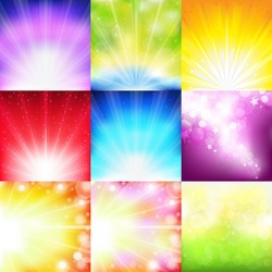 9 Bright Background With Rays And Stars