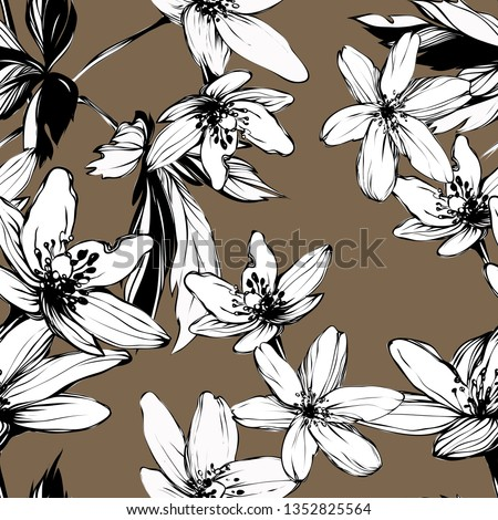 Bright botanical black and white silhouette pattern. Noble anemone flower plant. Vintage nature seamless on beige colored background. Ink drawing sketch print for textile. Trendy flower lined design.
