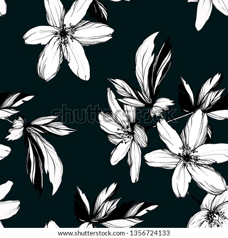 Bright botanical black and white silhouette pattern. Noble flower plant. Vintage nature seamless on green colored background. Ink drawing sketch print for textile. Trendy anemone flower lined design.