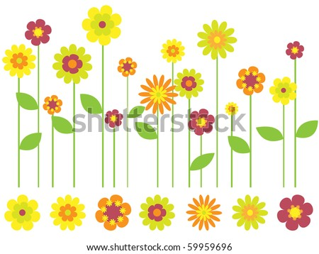 bright flower border and individual flowers