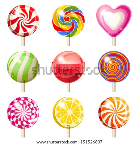 9 bright lollipops icons over